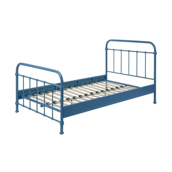 Modrá kovová detská posteľ Vipack New York, 120×200 cm