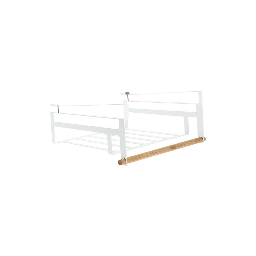 Bílá zavěsitelná polička do šatní skříně na oblečení Compactor Under Shelf Basket Rail