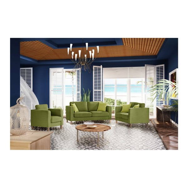 Zelená dvoumístná pohovka se 2 světle zelenými polštáři Stella Cadente Maison Canoa
