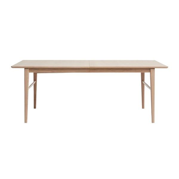Masă extensibilă din lemn de stejar alb Unique Furniture Rocca, 100 x 205/295 cm