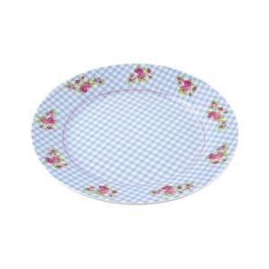 Porcelánový talíř Karo, modrý 4 ks