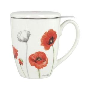 Hrnek z kostního porcelánu s pokličkou a sítkem na sypaný čaj Ashdene Poppies, 350ml