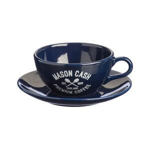 Ceașcă cu farfurie Mason Cash Varsity Cappuccino, albastru închis