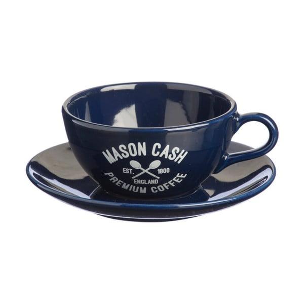 Ciemnoniebieska filiżanka ze spodkiem Mason Cash Varsity Cappuccino