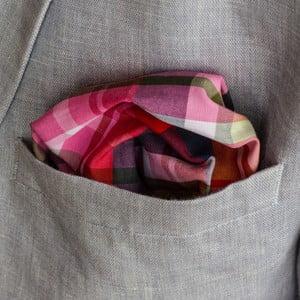 Růžovo-zelený kapesníček do saka