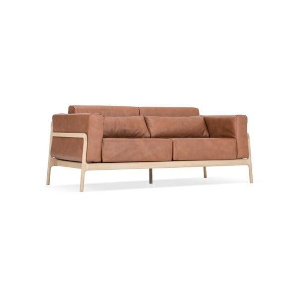 Canapea din piele bovină cu structură din lemn masiv de stejar Gazzda Fawn, maro cognac