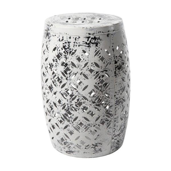Nour szürke kézzel festett fém kisszék, ⌀30cm - RGE