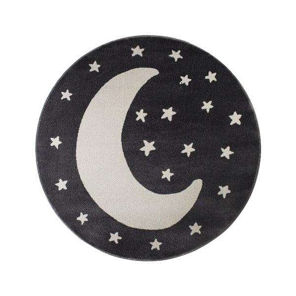 Čierny okrúhly koberec s motívom mesiaca KICOTI Black Moon, 133 × 133 cm