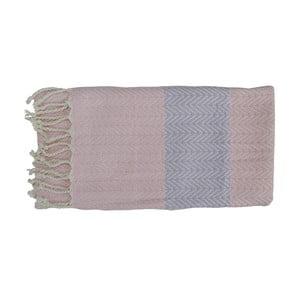 Prosop țesut manual din bumbac premium Damla, 100 x 80 cm, roz - gri