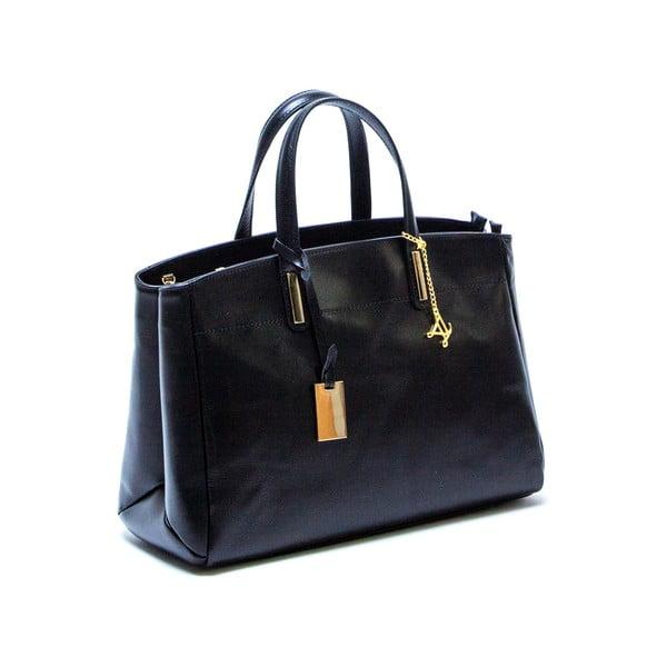 Tmavě modrá kožená kabelka Francesca