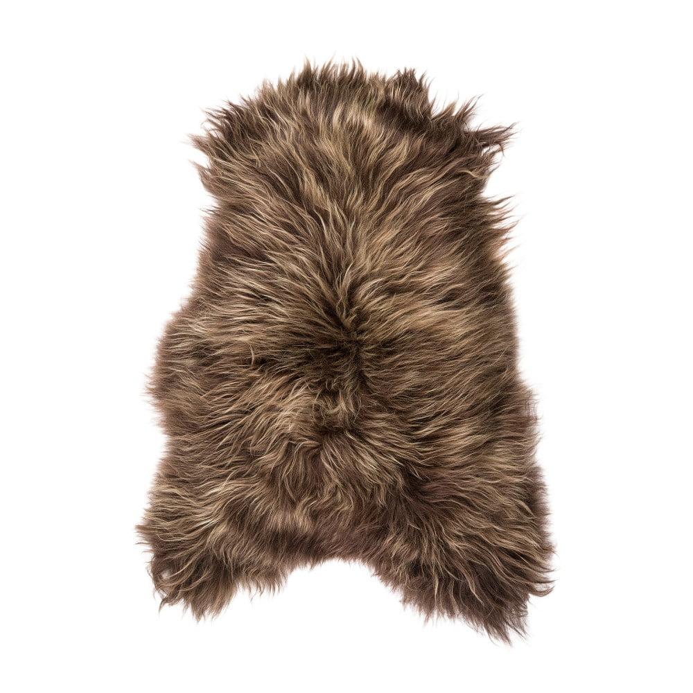 Tmavě hnědá ovčí kožešina s dlouhým chlupem, 100 x 60 cm