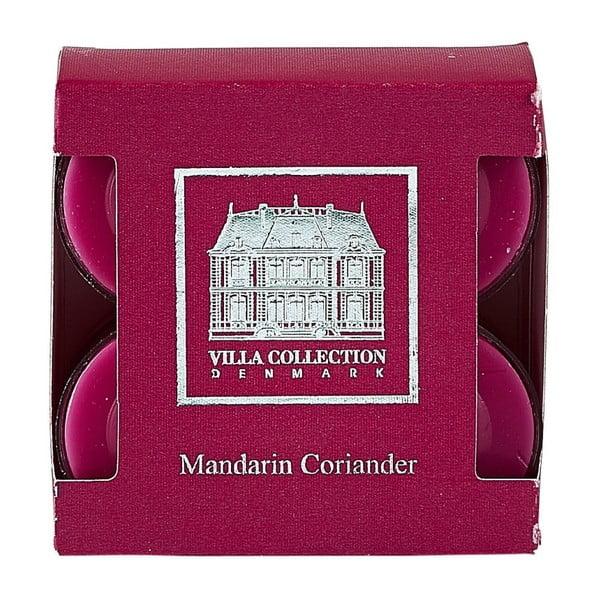 Sada 8 čajových svíček s vůní koriandru a mandarínu Villa Collection