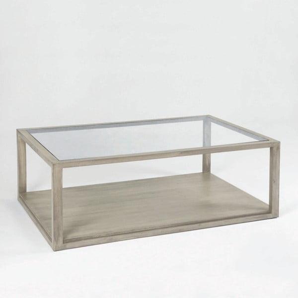 Šedý konferenční stolek z lakovaného dřeva a skla Thai Natura, 130 x 80 cm