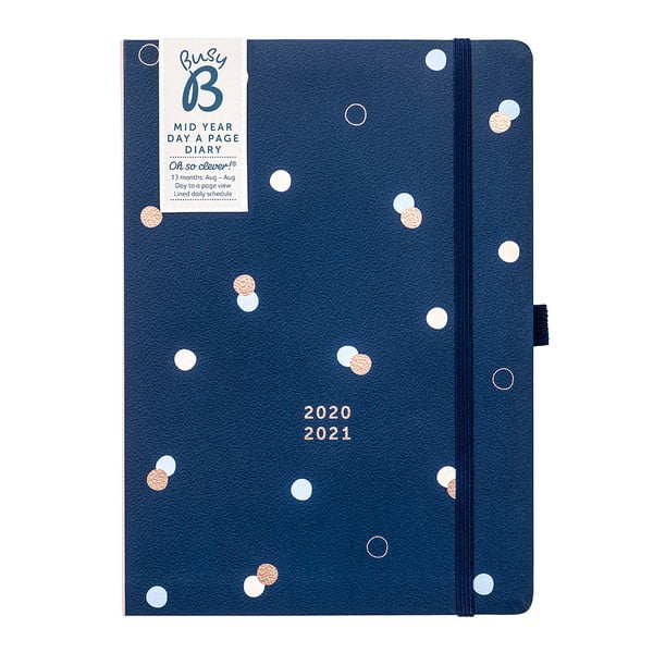 Ciemnoniebieski kalendarz od 08.2020 r. do 08.2021 r. Busy B
