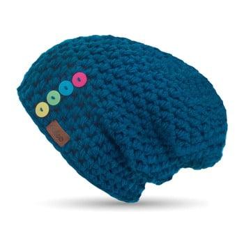 Căciulă tricotată manual cu nasturi DOKE Petrol, albastru de la DOKE