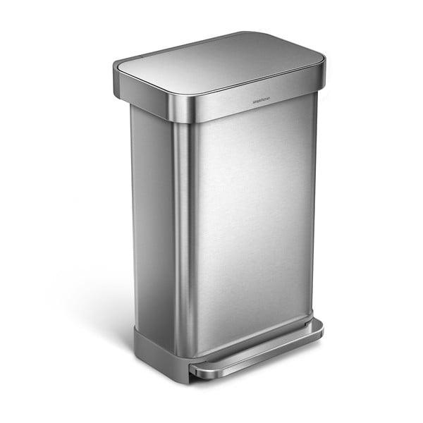 Stříbrný matný odpadkový koš simplehuman, 45 l