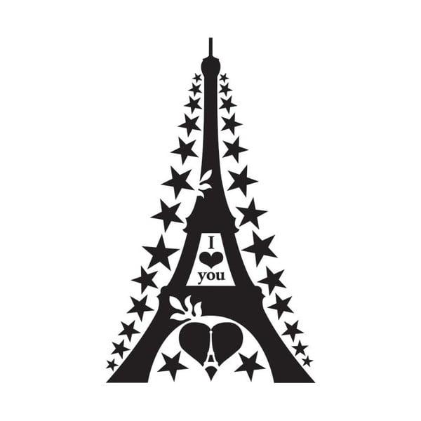 Samolepka na zeď Big Black Eiffel Tower, 57x90 cm