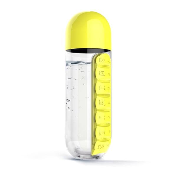 Lahev se zásobníkem na prášky Asobu In Style Yellow, 600 ml