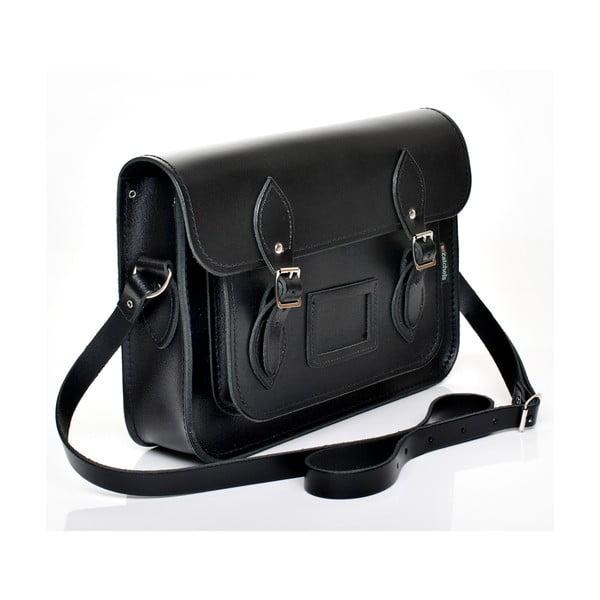 Kožená kabelka Satchel 33 cm, černá