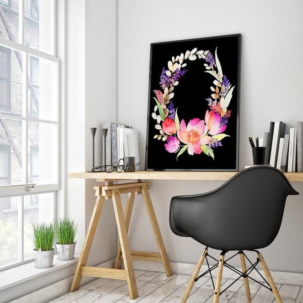 Plakát s květinovým věncem, 30 x 40 cm