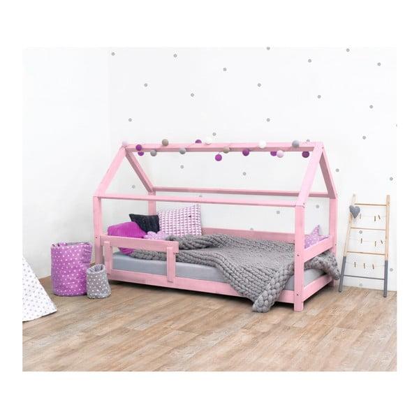 Pat pentru copii, din lemn de molid cu bariere de protecție laterale Benlemi Tery, 120 x 190 cm, roz