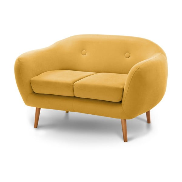 Canapea cu 2 locuri Scandi by Stella Cadente Maison, galben închis