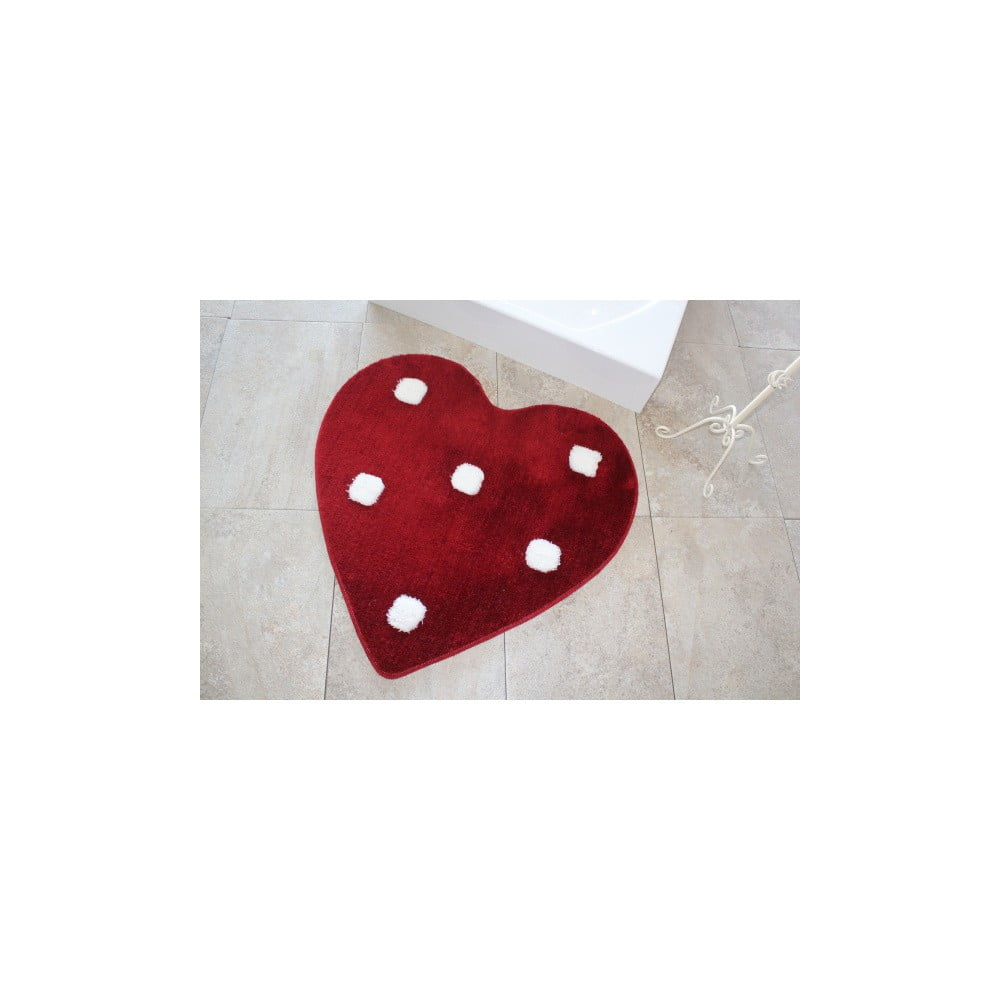 Červený koberec ve tvaru srdce Confetti Bathmats Poni