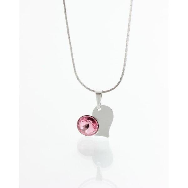 Růžový náhrdelník se Swarovski krystaly Yasmine Heart