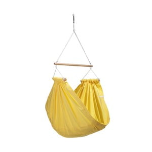Žluté houpadlo z bavlny se zavěšením do stropu Hojdavak Junior (3až10 let)