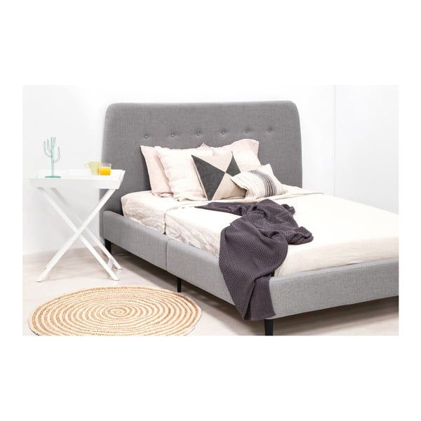 Šedá dvoulůžková postel s černými nohami Vivonita Mae, 140 x 200 cm