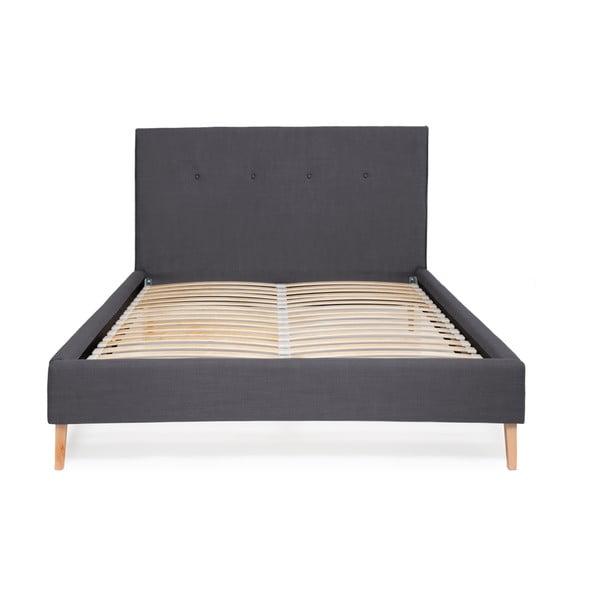 Granatowe łóżko Vivonita Kent Linen, 200x180cm
