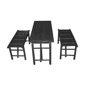 Set masă cu 2 bănci din bambus Leitmotiv, negru