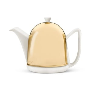 Ceainic alb-alamă cu infuzor Bredemeijer Manto, 1l