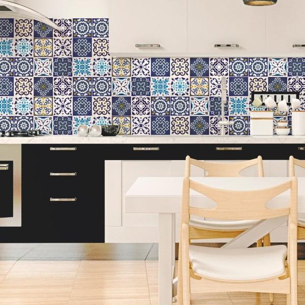 Set 12 autocolante de perete Ambiance Tiles Azulejos Janeiro, 20 x 20 cm