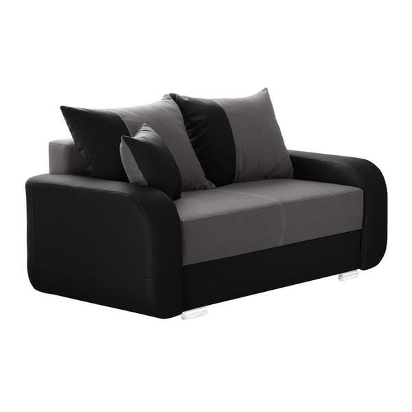 Canapea cu 2 locuri INTERIEUR DE FAMILLE PARIS Destin, negru - gri