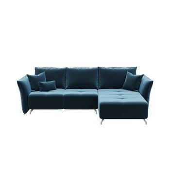 Canapea extensibilă cu șezlong pe partea dreaptă Hermes albastru închis