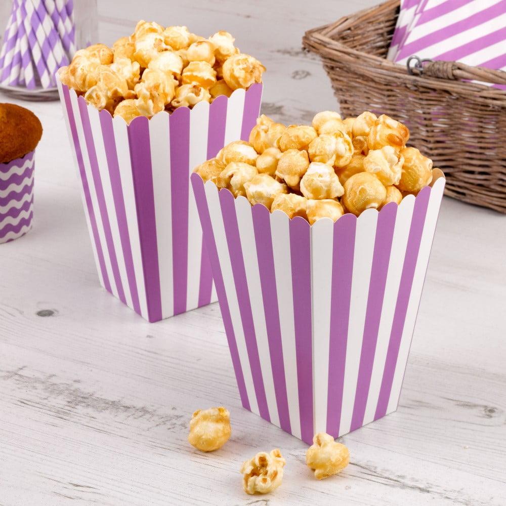 Sada 8 fialových papírových krabiček na popcorn Neviti Carnival Stripes
