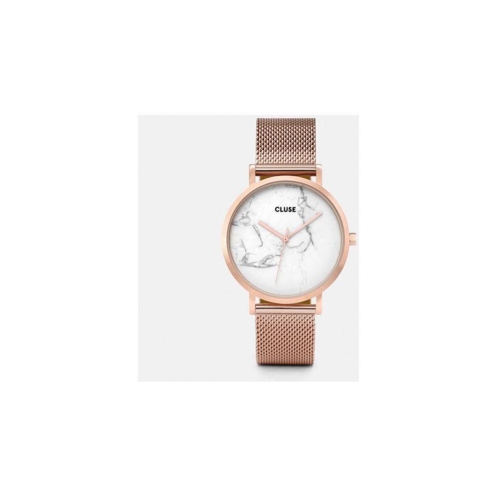 Dámské hodinky z nerezové oceli v barvě růžového zlata s mramorovým ciferníkem Cluse La Roche Mesh