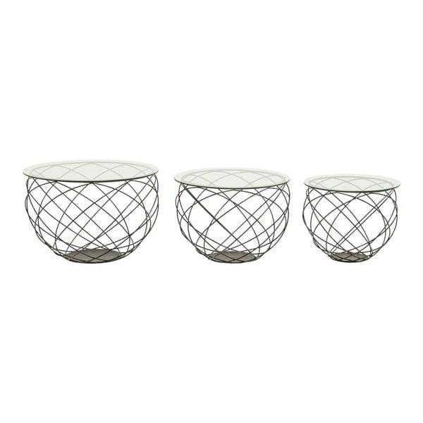 Sada 3 konferenčných stolíkov Kare Design Wire Grid