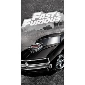 Černý dětský bavlněný ručník Halantex Fast&Furious, 70 x 140 cm