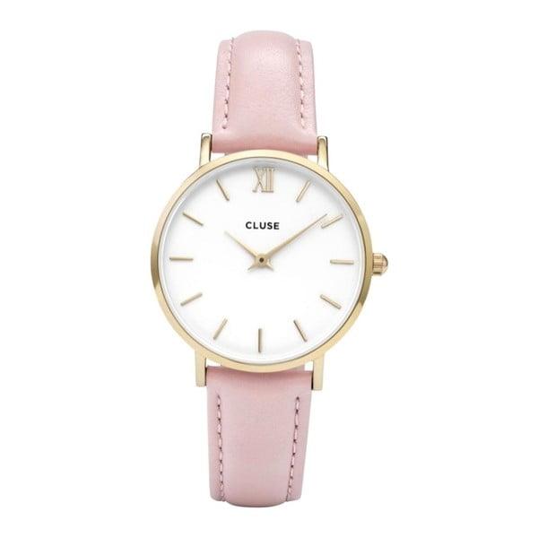 Ceas damă cu curea din piele şi detalii aurii Cluse Minuit, roz