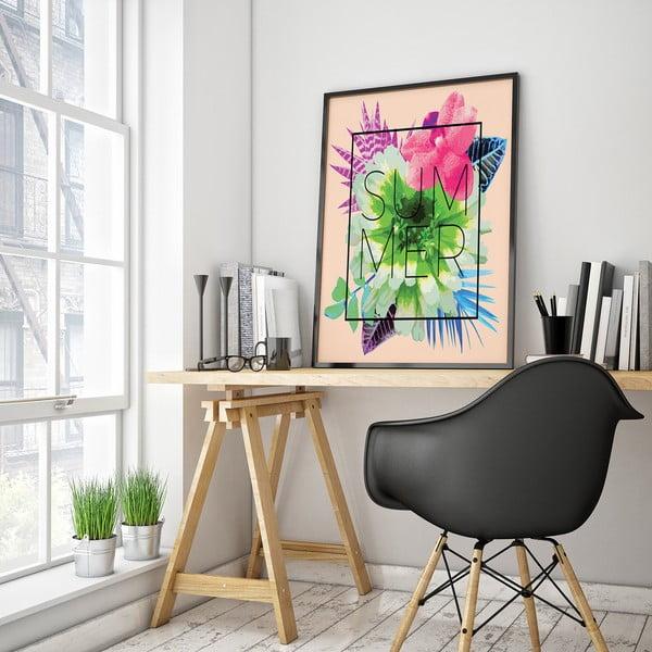 Plakát s květinami Summer, růžové pozadí, 30 x 40 cm