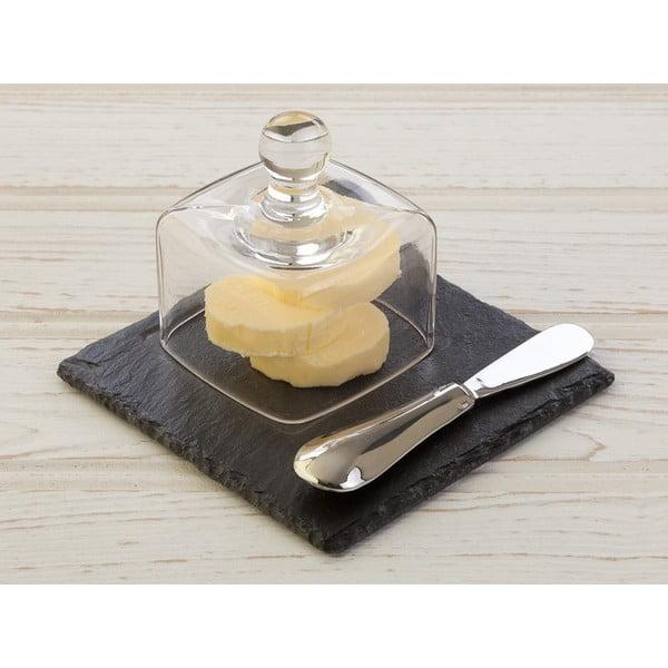 Břidlicová máslenka s nožem Cloche, 13x13 cm