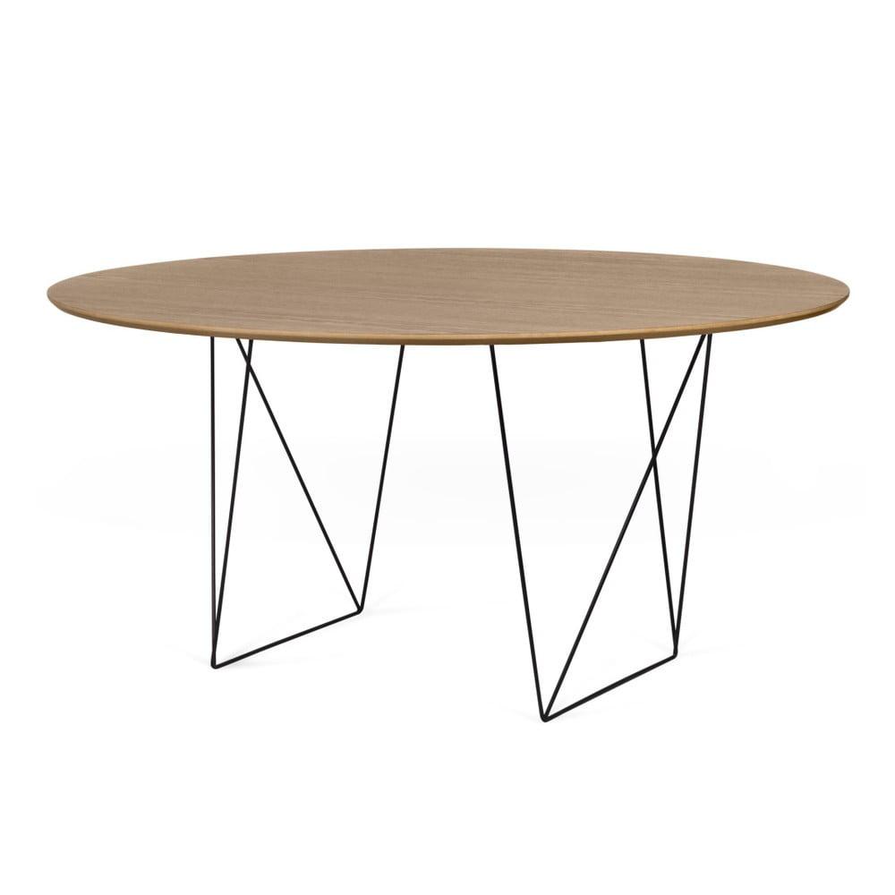Jídelní stůl v dekoru ořechového dřeva s černým podnožím TemaHome Row, Ø150cm