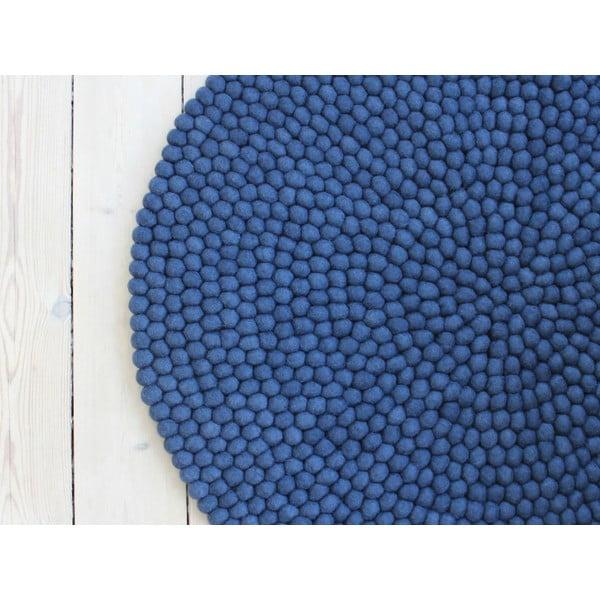 Modrý kuličkový vlněný koberec Wooldot Ball Rugs, ⌀ 90 cm