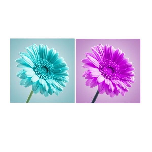 Set obrazů na skle Květinové,30x30 cm, 2 ks