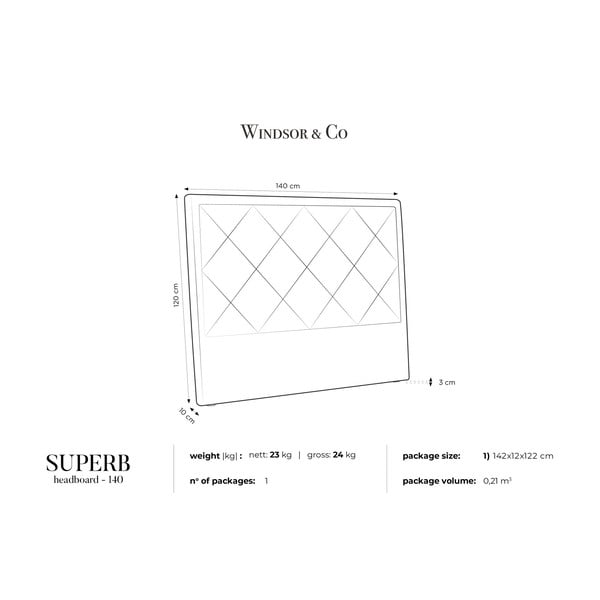 Krémové čelo postele Windsor & Co Sofas Superb, 140 x 120 cm