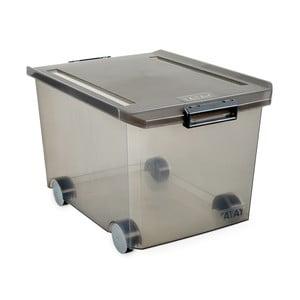 Šedý úložný box na kolečkách s víkem Ta-Tay Storage Box, 60 l