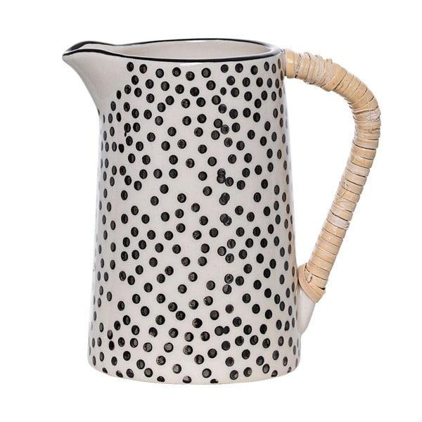 Čierno-biely keramický džbán na mlieko Bloomingville Julie