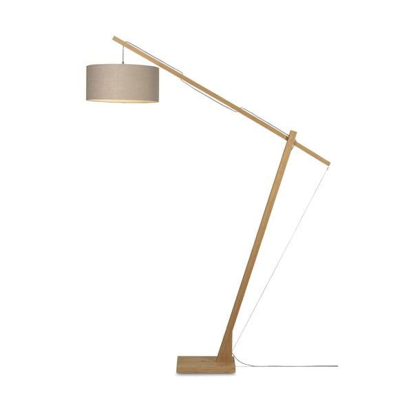 Stojacia lampa s béžovým tienidlom a konštrukciou z bambusu Good&Mojo Montblanc